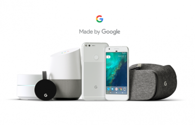 "Many new products ""Made By Google"" coming later this year, including a new Google phone, speaker hub, wireless router, and VR headset"