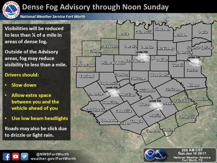 Dense fog weather advisory until noon