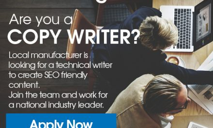 Local manufacturing company seeks Copy Writer