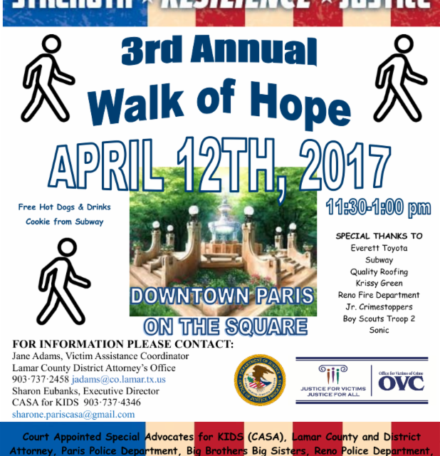 Third Annual Walk of Hope on April 12, 2017