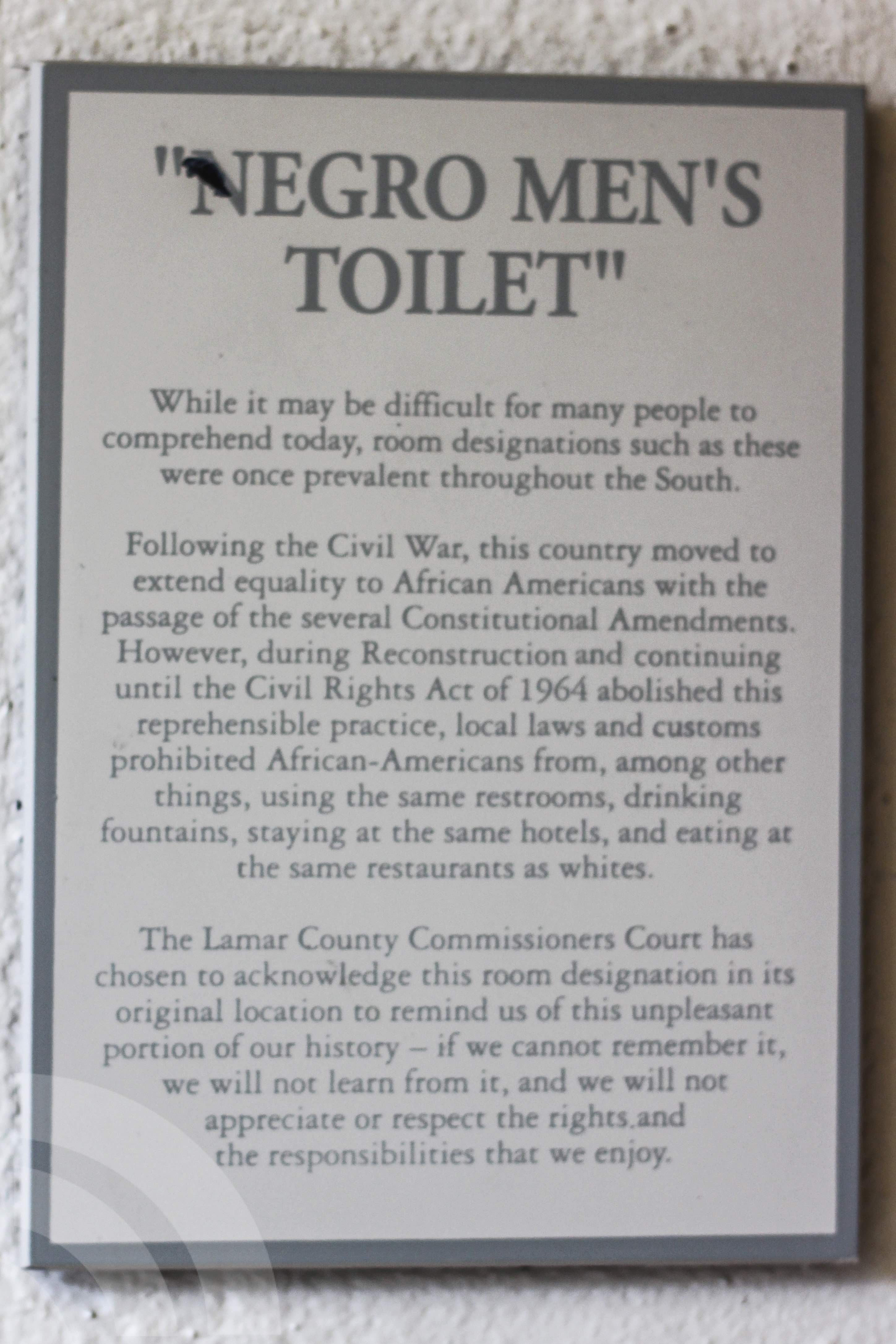 Bathroom Signs History today we went to the courthouse to see if the signs had been