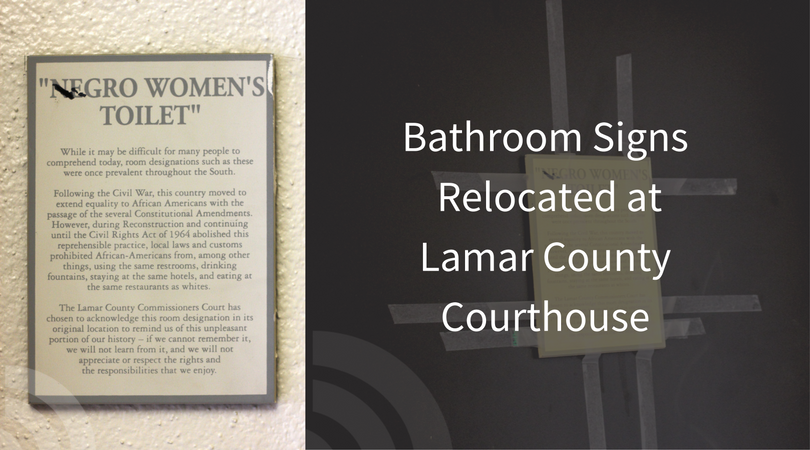 "Bathroom Sign Location negro"" bathroom signs in the lamar county courthouse have been"