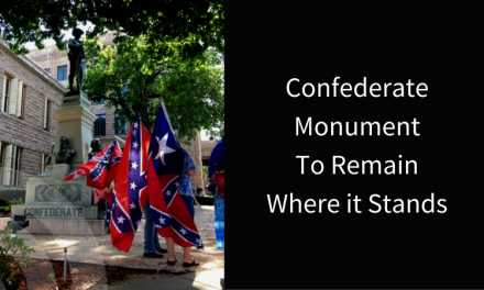 Confederate Monument stays at the Lamar County Courthouse
