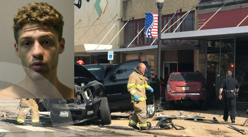 Downtown crash results in one arrest, and 3 admitted to hospital