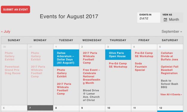 New Community Calendar for Paris, TX