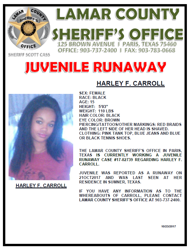 Juvenile Runaway reported to Lamar County Sheriff's Office