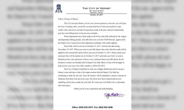 City of Deport sends update letter to residents regarding water bills
