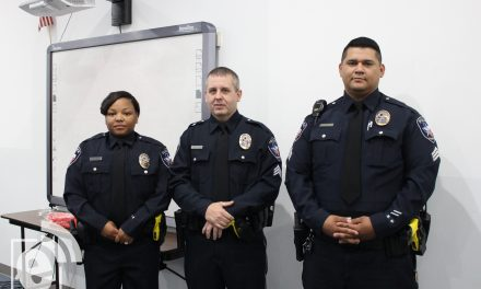 Three sworn into new positions at badge pinning ceremony at Paris Police Department today