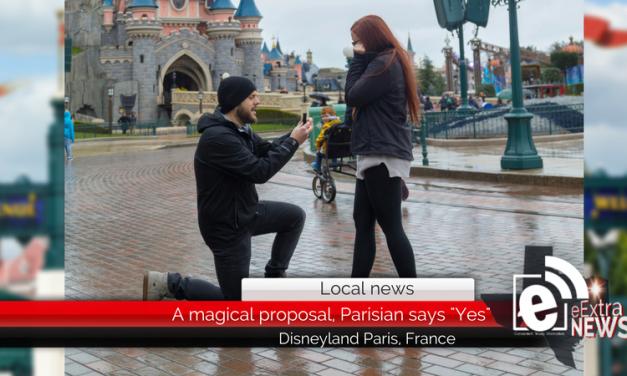 "A magical proposal, Parisian says ""Yes"" at Disneyland in Paris, France"