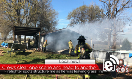 Firefighter spots structure fire, Crews clear one scene and head to another