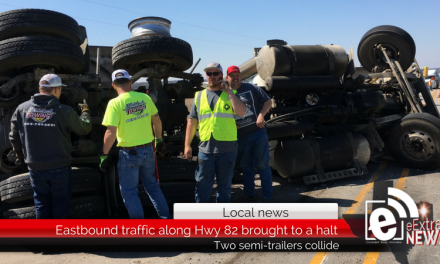 Eastbound traffic along Hwy 82 is brought to a halt