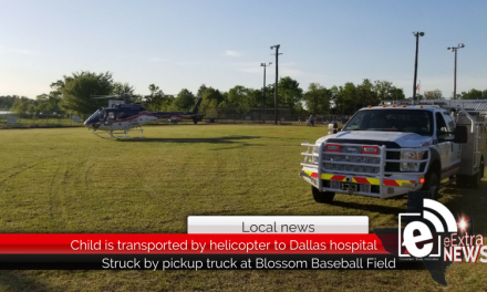 Child struck by pickup truck, transported to Dallas by helicopter
