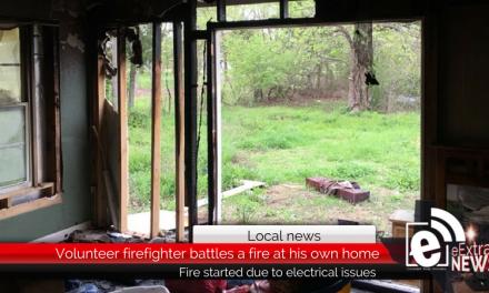 Volunteer firefighter battles fire at his own home Thursday