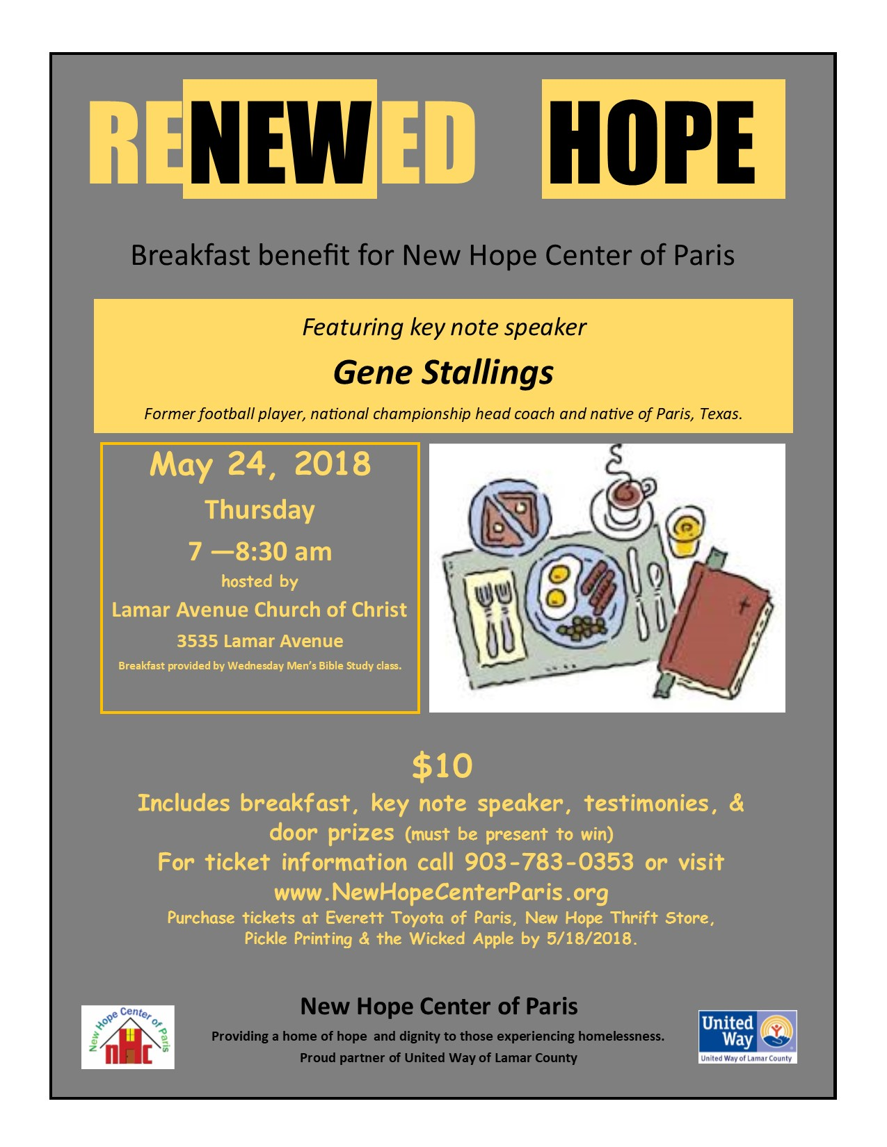 reNEWed HOPE Breakfast Fundraiser May 24 2018