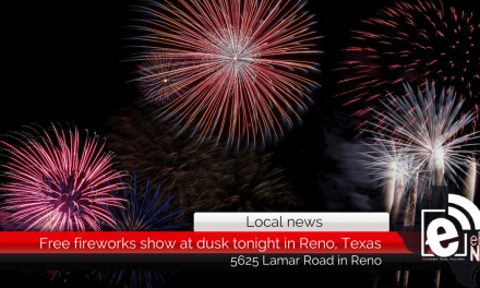 Free fireworks show at dusk tonight in Reno, Texas