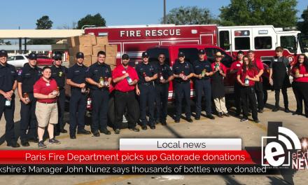 Paris Fire Department picks up Gatorade donations from Brookshire's