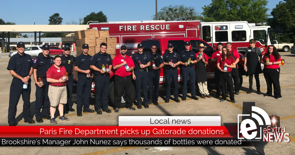 Paris Fire Department picks up Gatorade donations from Brookshire's