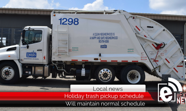 Holiday trash pick-up schedule for Paris, Texas sanitation department