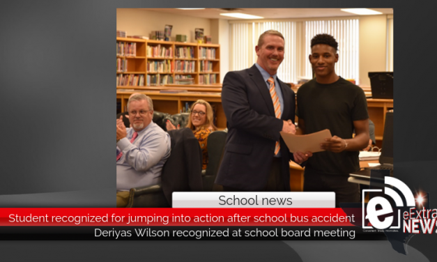 Student recognized for jumping into action after school bus accident