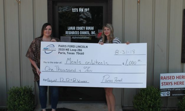 Lamar County Meals on Wheels wins $1,000 in Paris Ford/Lincoln campaign
