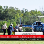 One is transported by helicopter to the hospital after wreck