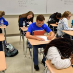North Lamar students cast votes in class