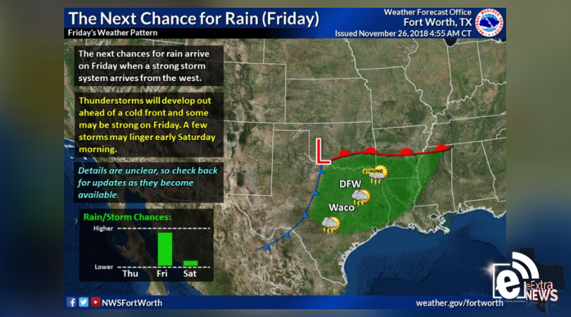 The week will be dry and pleasant through Friday, when rain is likely to roll through the area