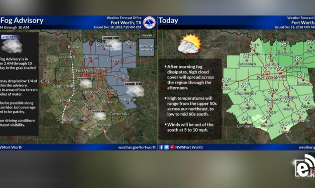 Dense fog expected until mid-morning, Chance for rain returns