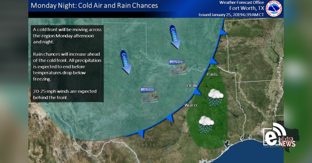 Chilly weekend and cold front on Monday