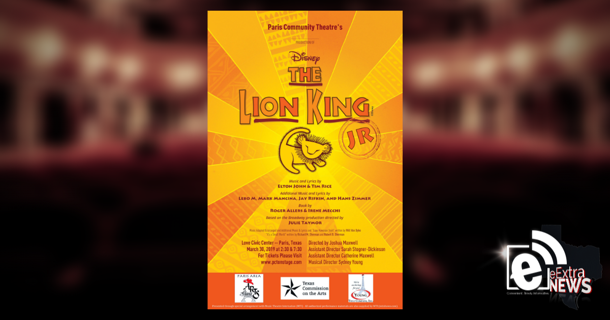 Lion King Jr sets center stage March 30 || Paris Community Theatre