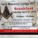 Community breakfast hosted by Paris Masonic Lodge set for Saturday, April 27