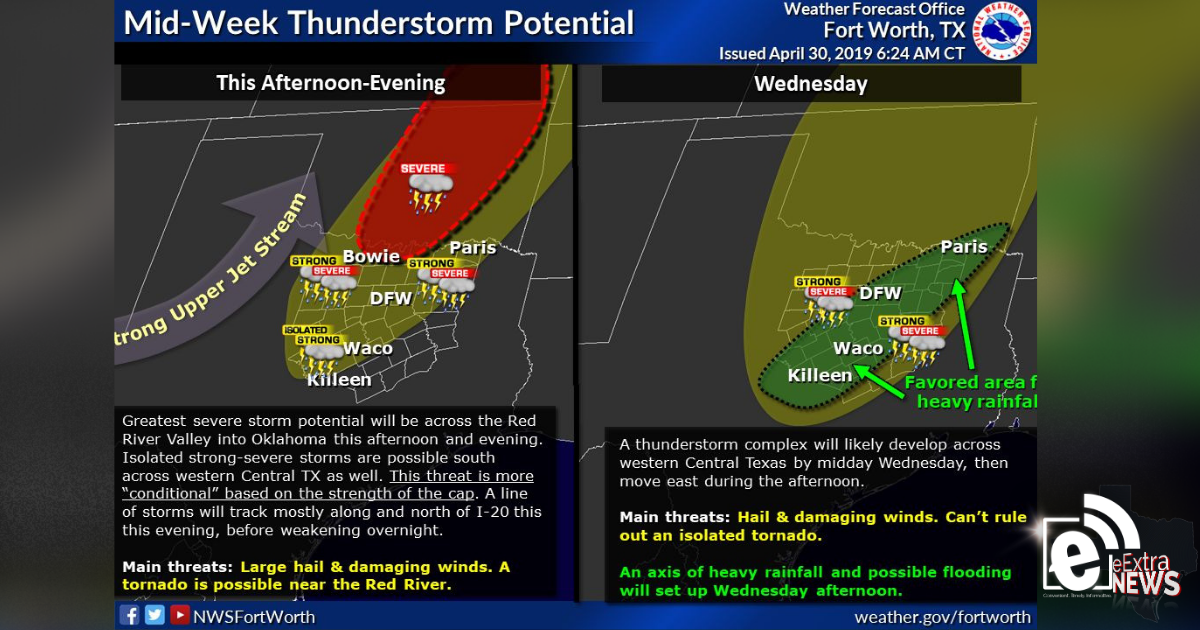 Mid-week thunderstorm potential || Weather outlook