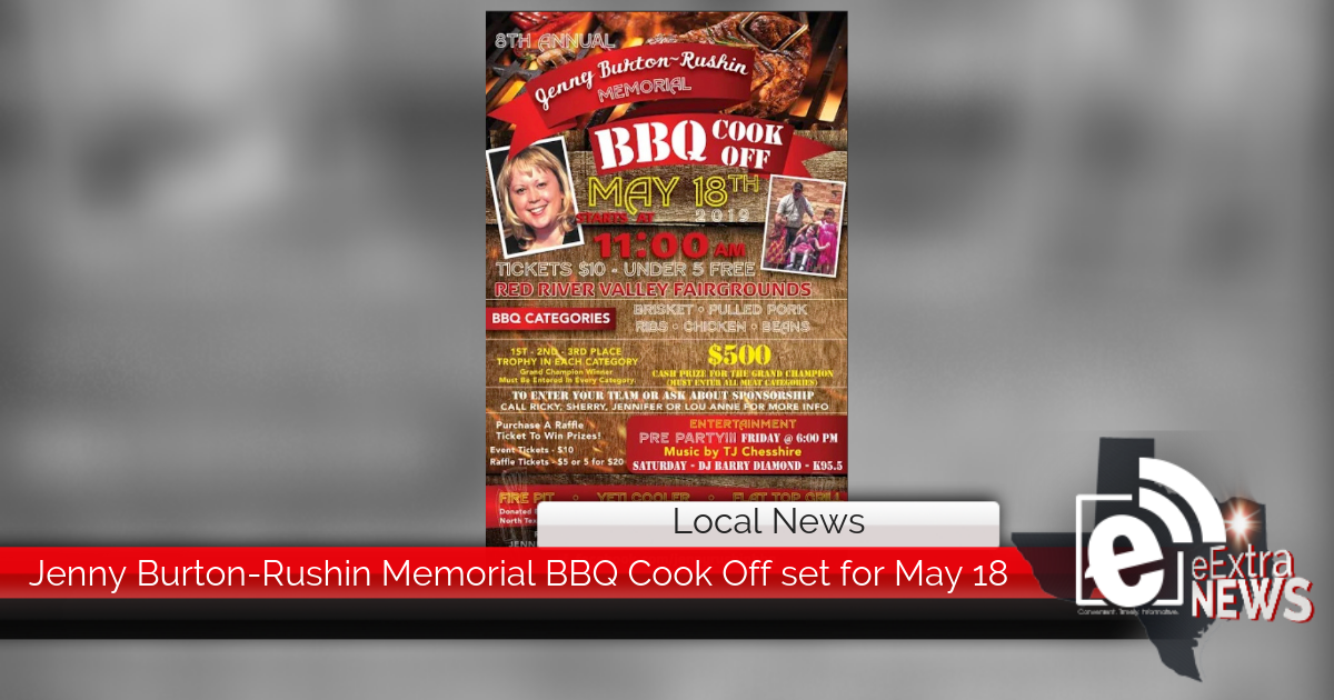 Eighth annual Jenny Burton-Rushin Memorial BBQ Cook Off set for May 18
