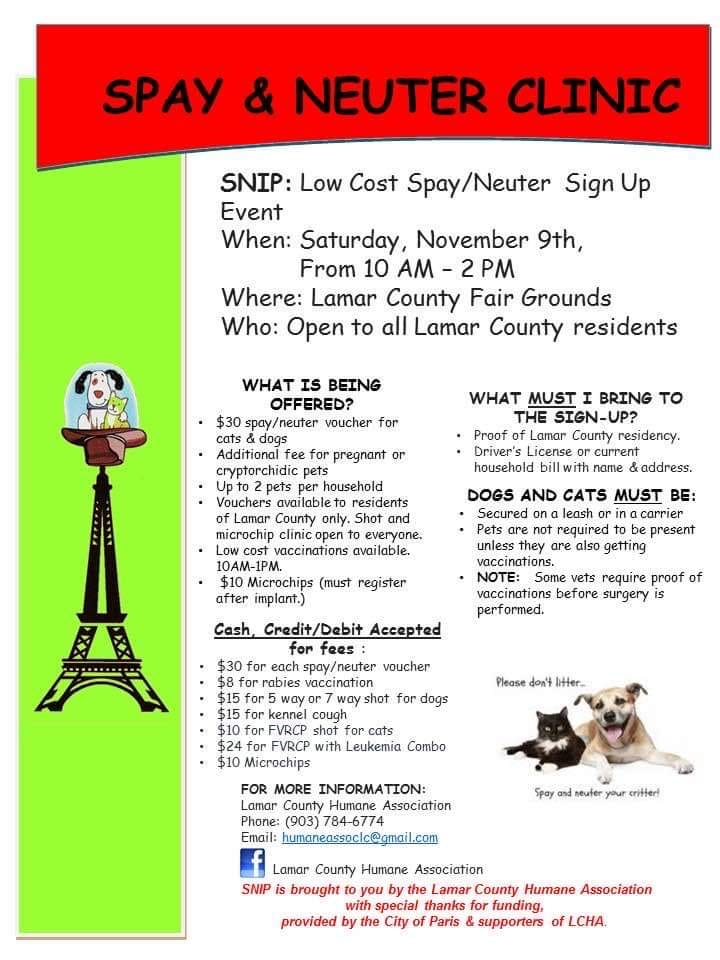 SNiP Clinic set for Saturday at Lamar County fairgrounds ...